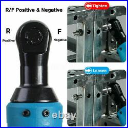 3/8'' Cordless Ratchet Right Angle Wrench Impact Power Tool 2 Battery & 7 Socket