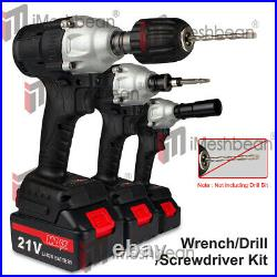 800Nm 1/2'' Electric Impact Wrench Cordless Brushless gun 2 Battery Driver Tool