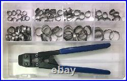 91 Piece Single Ear Pinch Crimp Hose Clamp & Heavy Duty Tool Assortment Kit