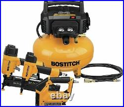 Bostitch 3 Tool Compressor Combo Kit Nailer Crown Stapler Air Hose Heavy Duty