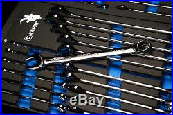 Capri Tools Combination Wrench Set, 19-Piece, Metric, Mechanic's Tray