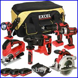 Excel 18V Cordless 6 Piece Tool Kit 3 x 2.0Ah Batteries & Smart Charger EXL5069