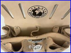 Extra Large Electrician Tool Pouch Heavy Duty Top Grain Leather Multi pocket