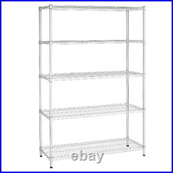 Heavy Duty Metal Wire Rack Shelving Storage 16x48x72 Garage 5 Shelf Tool Silver