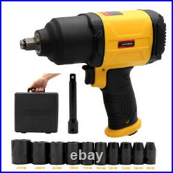 Heavy Duty Twin Hammer 1/2 848 ft-lbs. Air Impact Wrench Tool With 11 Scokets Set