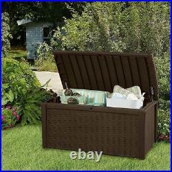 Keter Borneo 110 G Rattan/Wicker Style Resin Patio Storage Deck Box Bench, Brown