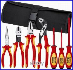 Knipex 7 Piece Electricians Insulated Tool Kit withNylon Tool Roll Tool Kit