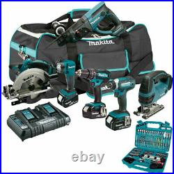 Makita 6 Piece Tool Kit 18V 3 x 5.0Ah Batteries Charger with 101 Piece Drill Set