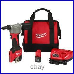 Milwaukee 2550-22 M12 FUEL 12V Heavy Duty Cordless Rivet Tool Kit