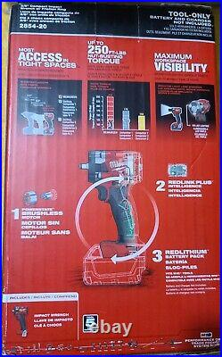 Milwaukee 2854-20 FUEL M18 18 Volt Compact 3/8 Inch Impact Wrench With Ring New