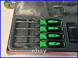 New Snap-On 10pc Instinct Grip Screwdriver Set SGDX6040BG GREEN NEW