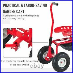 Rolling Garden Cart Planting With Tool Tray Basket Swivel Work Seat Heavy Duty Red