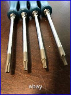 Snap On Tools USA SDTX40B Teal Blue Mini 4-Torx SET Hard Plastic Short T8-T20