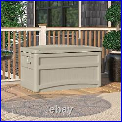Suncast DB7500 73 Gallon Resin Outdoor Patio Storage Deck Box with Seat, Taupe