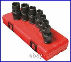 Sunex 7pc 1/2 Metric 6 Point Universal Impact Sockets Set Tools Drive MM 2655