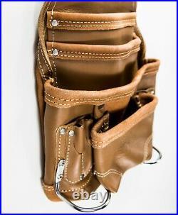 Ten Pocket Grain Leather Heavy Duty Tan Tool Pouch With 2 Hammer Holders