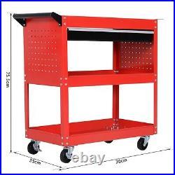 Tool Storage Trolley Heavy Duty Durable Garage Workshop 3-Tier Wheel Cart Red UK