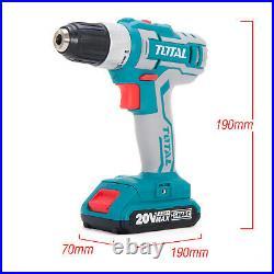 Total Tools Li-ion Cordless Drill Set 20v 2000mAh Battery 47pcs kit, Carry Bag