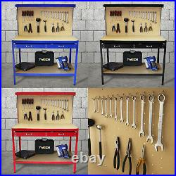 Workbench With Pegboard Drawer Tool Garage Storage Heavy-Duty Steel Workshop DIY